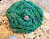 Hair Clip- Vibrant Green Rosette