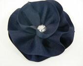 Hair Clip- Navy Blue Ribbon Blossom