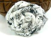 Hair Clip- White, Gray, and Black Rosette