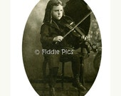 Old Photo | Antique Photograph | CHILD MUSICIAN Playing VIOLIN with Corkscrew Curls