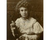 Cabinet Card Photo | MARIE HALL with Violin | British Female Violinist | Antique Photograph