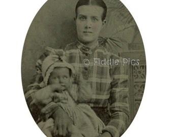 Tintype Photo | CDV Carte de Visite Mount | MOTHER holding BABY