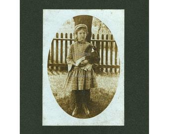 Original Vintage Photograph | Girl holding Antique Doll | Outdoor Portrait