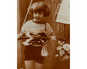Antique Photo | French GIRL with VIOLIN Roses Music Stand | c1910s