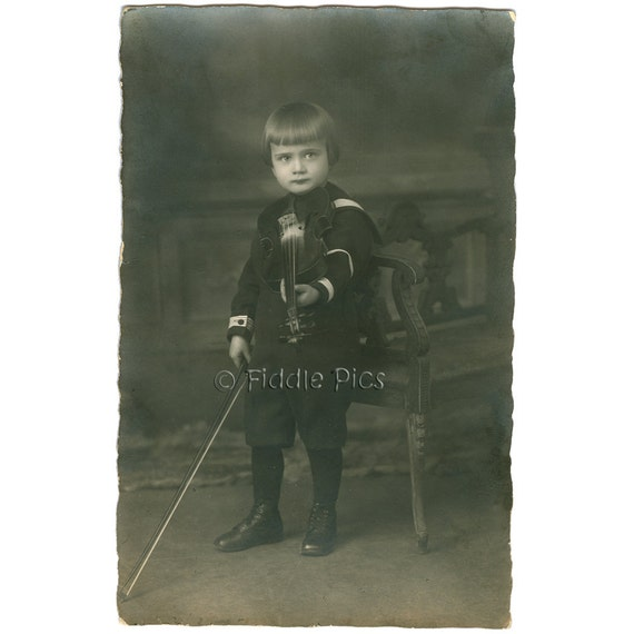 Antique Photo | Cute German Boy Posed with Tiny Violin | Black and White Vintage Photography