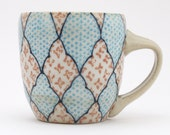 Reserved for Linda.  Cup with navy blue lattice pattern and salmon and turquoise crosses