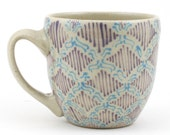 Teacup - Ceramic Mug - Cup with turquoise and purple pattern