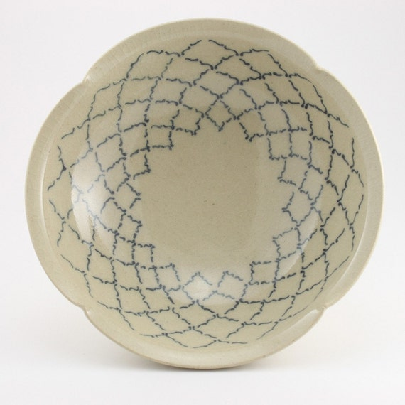 Ceramic Bowl w/ Dark Blue Pattern