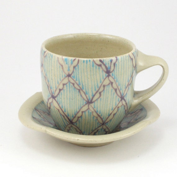 Reserved: Cup and Saucer with Violet Lattice Pattern and Turquoise Stripes