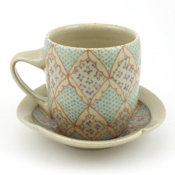 Teacup and Saucer - Ceramic Mug - Cup - with Salmon, Purple and Turquoise Pattern