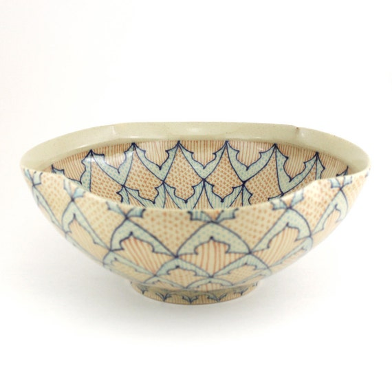 Ceramic Serving Bowl - Salad Bowl with Navy, Salmon and Turquoise Pattern