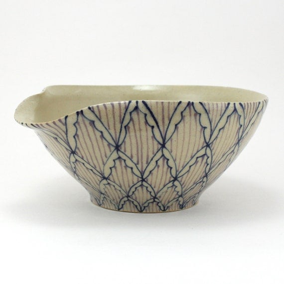 Pouring Bowl - Mixing Bowl wtih Navy Blue and Purple Pattern