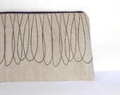 SALE The Squiggle Series - Screen printed linen zip bag