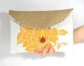 SALE Hand Screen Printed Mustard Yellow Floral Linen and Jute Clutch Bag