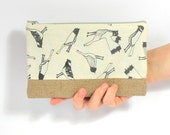 Bird Print Charcoal Grey Hand Printed Cotton and Jute Zip Pouch