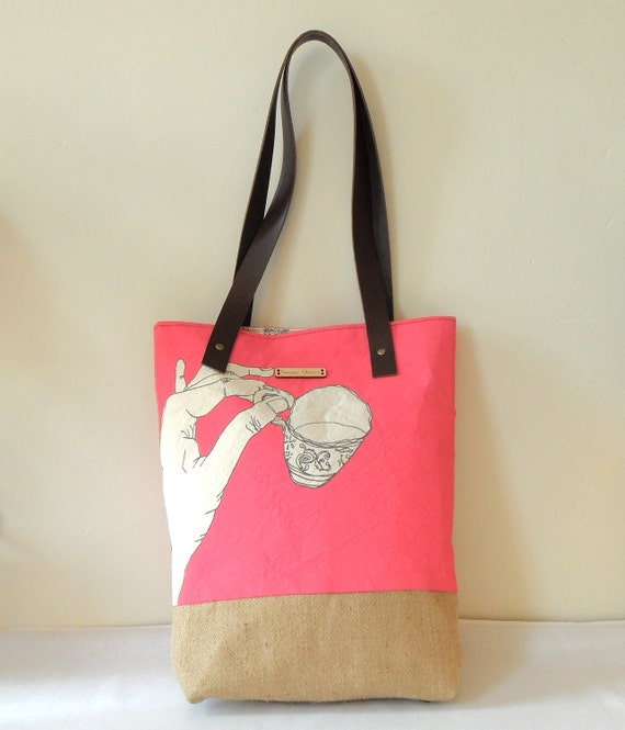 Afternoon Tea Bright Pink Hand Screen Printed Canvas and Jute With Leather Straps Tote Bag SALE