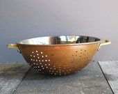 Vintage Copper-Plated Stainless Colander with Brass Handles