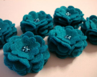 Set of 6pcs handmade felt flower - turquoise (SCF)