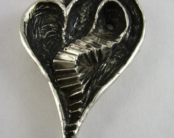 Heart Ache Pendant - Solid Sterling Silver - Stairway to your Heart - Romantic Gift - Gothic - Horror Jewelry - Rickson Jewellery