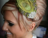 Green Peacock Rhinestone Feather Headband, Feather hair piece, bridal headband, hair accessory, rhinestone