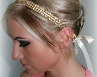ON SALE Gold Topaz Rhinestone Ribbon Head Piece, rhinestone hair piece, bridal headband, accessories, Gold ribbon tie, Bohemian
