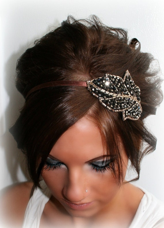 Gold/Gunmetal Beaded Leaf Headband
