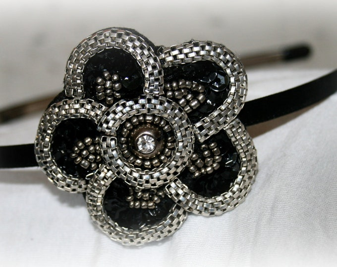 Floral Rhinestone Headband With Gunmetal Beads and Black Sequins
