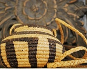 Vintage Indian Basket Small Hanging Woven Native American Craft