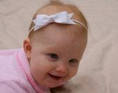 White Baby Bow Headband - Skinny Elastic Headband in Custom Sizes - Solid Color - Newborn Baby Toddler Girl