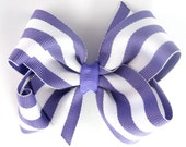 CLEARANCE 4 Inch Boutique Hair Bow For Girls - Purple and White Striped - Baby Toddler Girl