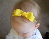 Yellow Bow Headband - Skinny Elastic Headband in Custom Sizes - Solid Lemon Sunny - Newborn Baby Toddler Girl