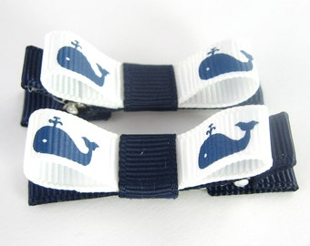 Whale Hair Clips - navy blue hair clips - summer hair bows - baby hair clips - girls hair clips - toddler girl barrettes -  small non slip