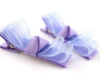 Baby Hair Clips - Double Organza Tuxedo Bows - Lavender Light Purple - No Slip Alligator Clip Matching Pair Toddler Hair Barrettes