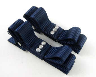 Navy Blue Rhinestone Hair Clips - Double Tuxedo Bow Barrettes Matching pair Alligator Clips