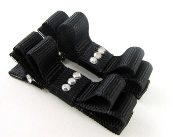 Black Hair Clips with Rhinestones - Double Tuxedo Bow Barrettes Matching pair Alligator Clips No Slip Baby Toddler Giris