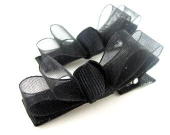 Black Organza Hair Clips for Baby Toddler Girls - Double Chiffon Tuxedo Bow Alligator Barrettes