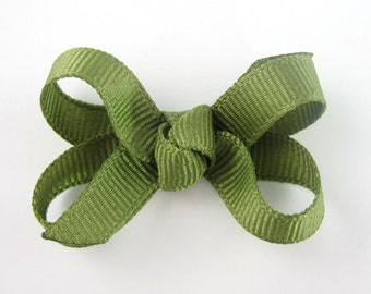 Baby Hair Bow in Olive Green - Extra Small Boutique Bow On Mini Snap Clip for Fine Hair Newborn to Toddler - Non Slip Barrette mm