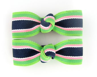 Navy Blue Lime Green Pink Clips - Taffy Striped 2 Inch Alligator Barrettes for Baby Toddler Girls Preppy Bahama AP