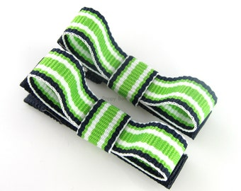 Navy and Lime Green Hair Clips Tuxedo Bow - Set of 2 - Matching Pair Alligator Barrettes for Babies Toddlers Girls Preppy Stripes