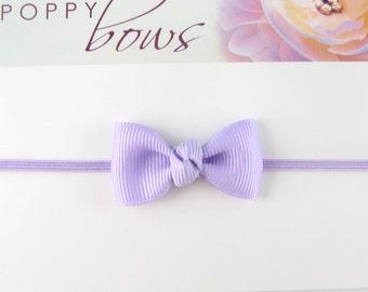 Smallest Bow Headband - Newborn Headband Lavender Light Purple Tiny Bow on Skinny Elastic - All Sizes Newborn Toddler Girl