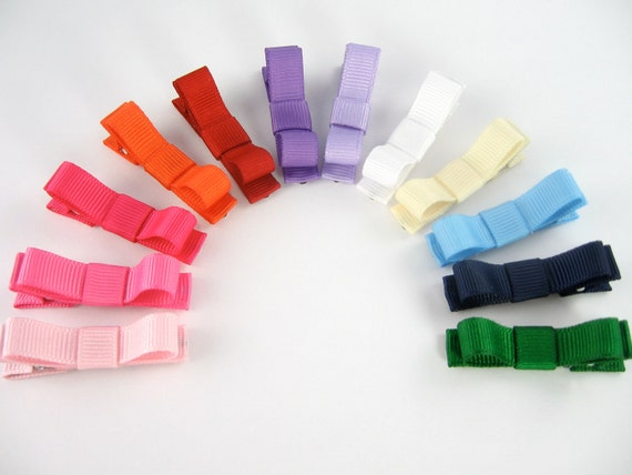 Baby Hair Clips Rainbow Set of 12 Tuxedo Bow Alligator No Slip Hair Clips - Custom Colors Welcome