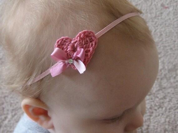 Pink Heart Baby Headband - Pink Crochet Heart with Rhinestone on Skinny Elastic - Custom Sizes - Newborn Baby Toddler Girl