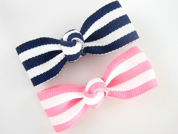 Girls Hair Clips - small hair clips - small hair bows - girl barrettes - toddler hair clips - baby hair clips - navy blue striped and pink