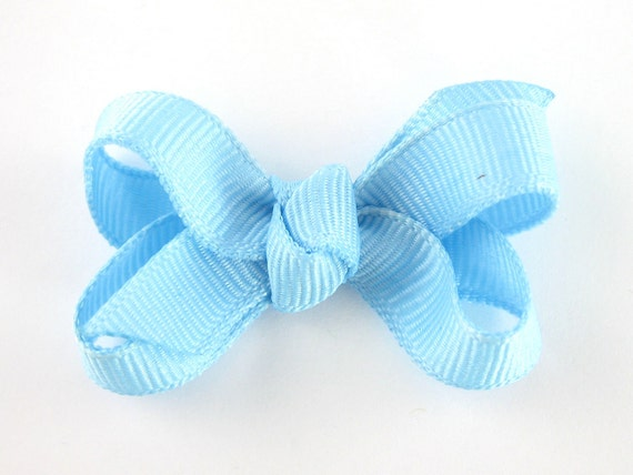 Light Blue Baby Hair Bow - Extra Small Boutique Bow On Mini Snap Clip - Hair Clip for Fine Hair Newborn to Toddler - Non Slip Barrette mm