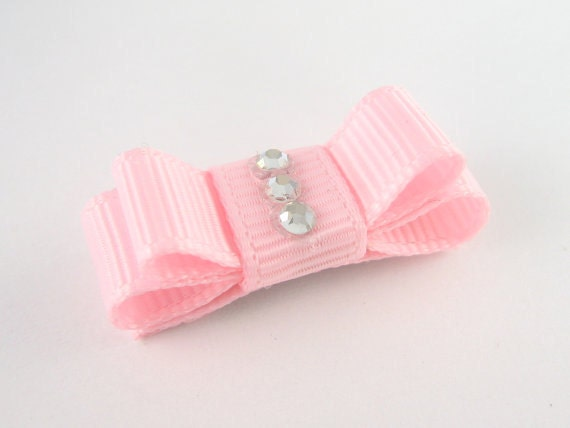 Newborn Hair Clip - Baby Bow Barrette in Light Pink with Rhinestones Non Slip Mini Snap Clip - Baby Pink Photo Prop Special Occasion me
