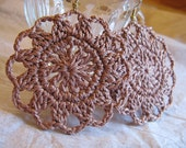 Milk Chocolate Brown Flower Crochet Earrings, No. 9