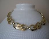 Chunky Coro Necklace Goldtone Vintage