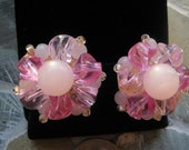 Pink Cluster Earrings Thermoset Germany Vintage