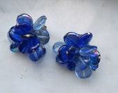 Vintage Blue Cluster Earrings West Germany Glass Beads