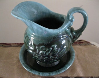 Vintage Hull Pitcher and Bowl Green Blue Drip - FL